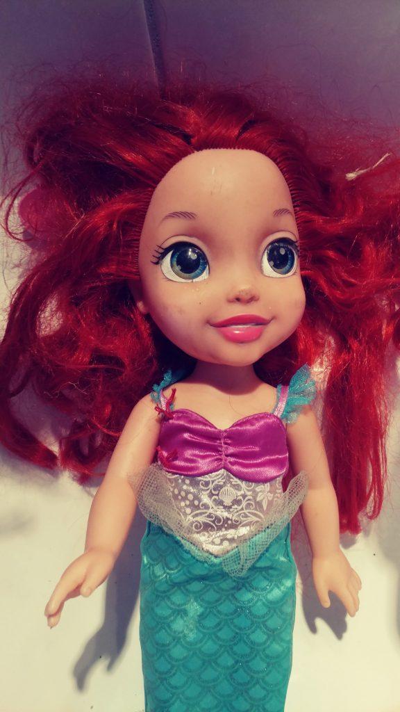 Ariel Doll Hair repair before