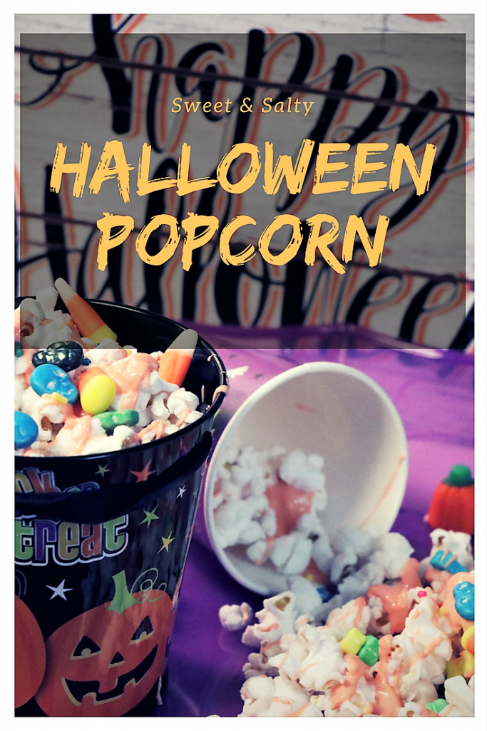 sweet and salty Spooky Halloween popcorn. Perfect for family movie night.