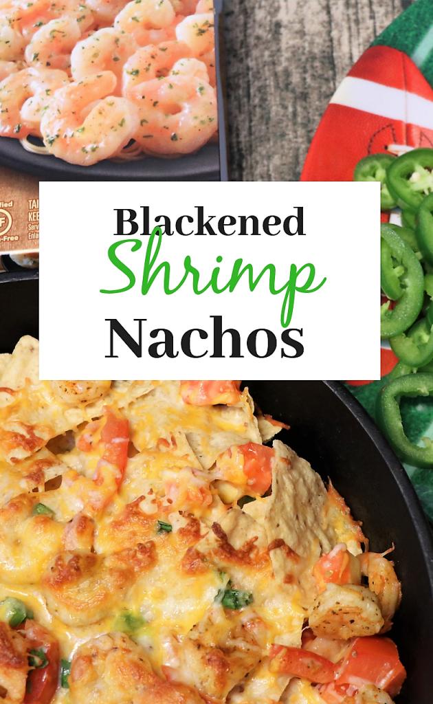 Easy Game day blackened Shrimp Nachos.