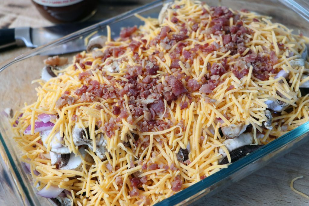 Keto BBQ Chicken Casserole with Cheese and Bacon