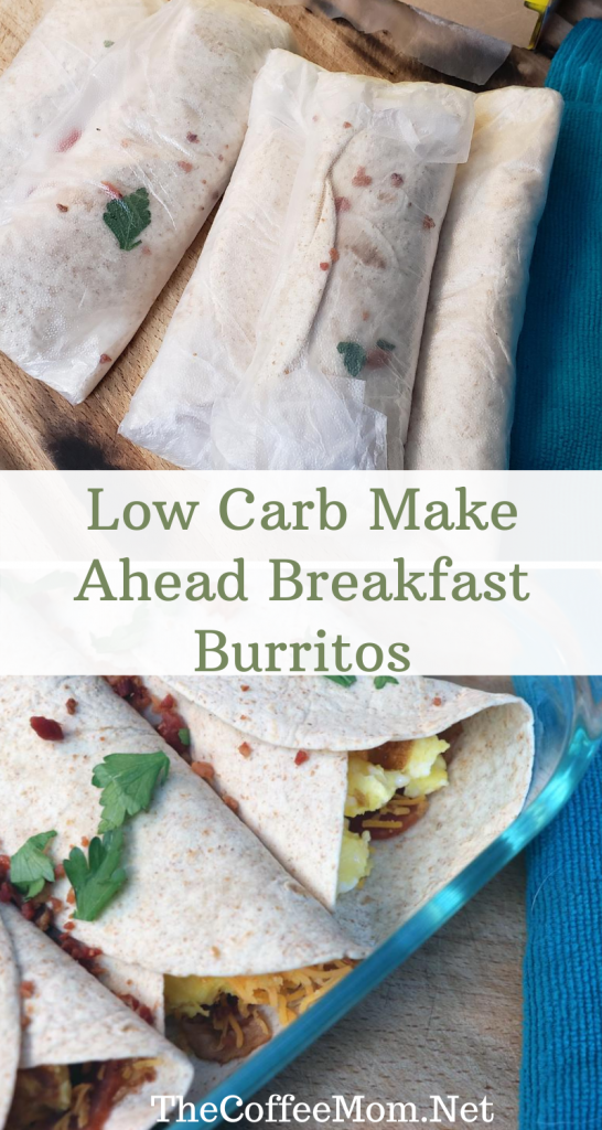 Healthy low carb, make-ahead breakfast burritos are quick, easy, and freeze well. Stuffed with egg, bacon, and cheese they are a perfect breakfast to add to your weekly meal prep menu!