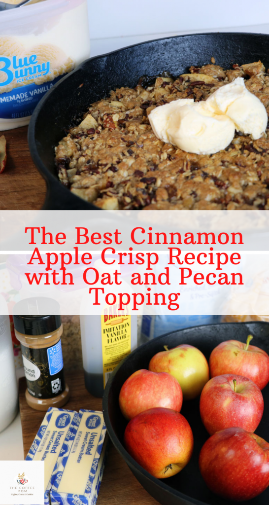 Apples are the flavor of Fall, but I love them all year round. Topped with oats, pecans, and brown sugar, I promise this is the best apple crisp recipe I have ever tried. So go on and grab some apples, a cast-iron skillet, and some vanilla ice cream and enjoy this super easy dessert.