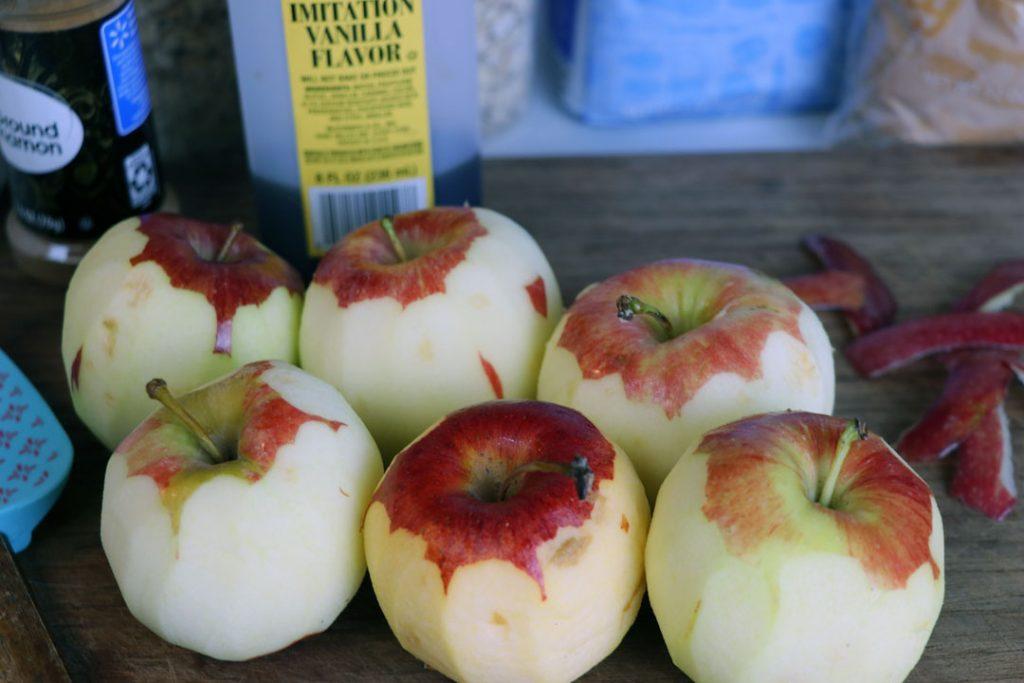 peeled honeycrisp apples for apple crisp