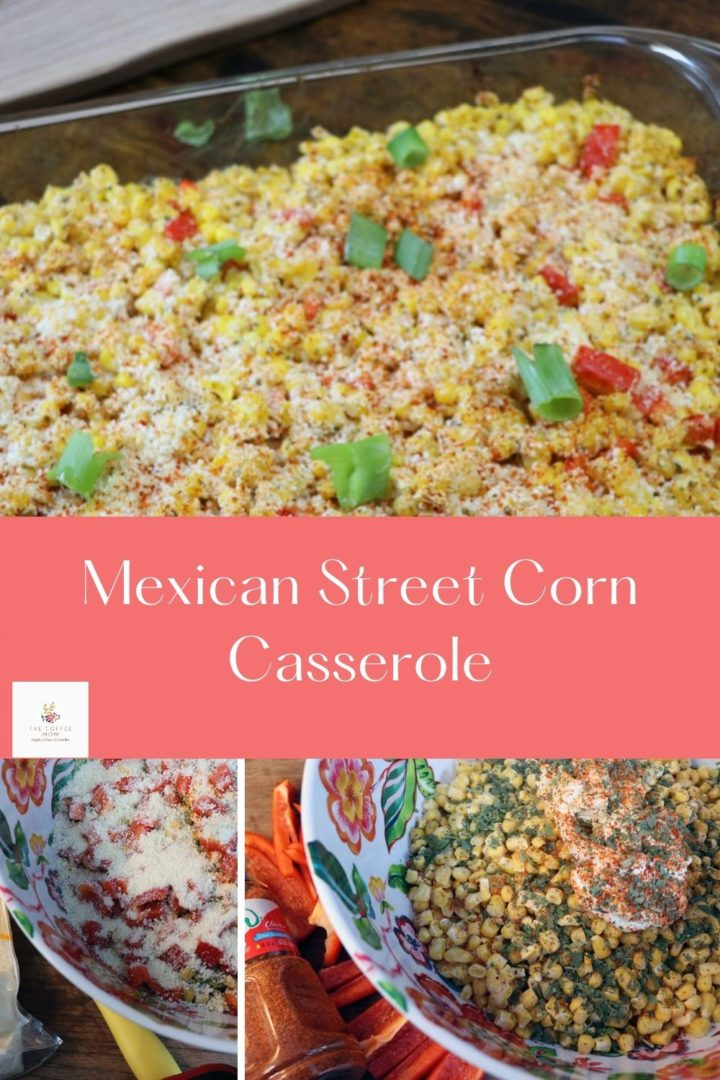 Made with frozen corn, red pepper, Cotija cheese, and mayo this Mexican street corn casserole is a delicious addition to your taco Tuesdays!